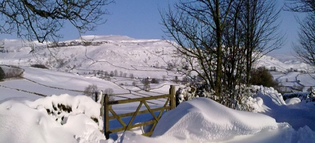 Photograph showing snow in The Dales